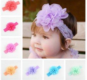 18 cores Do Bebê Meninas Rendas Headbands Infantil grande Flor Chiffon faixa de cabelo headwear Crianças Acessórios Para o Cabelo Crianças Elastic Headbands R079
