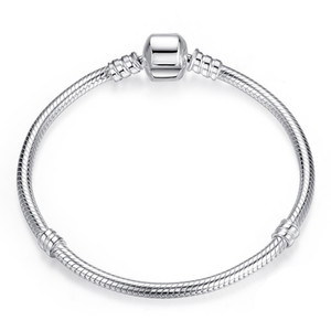 AIFEILI Dropship Authentic Silver Plated Snake Chain DIY Charm Bracelet & Bangle DIY For Women Bracelet Jewelry Gift