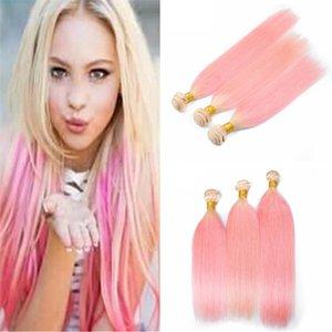 Ombre блондинка и розовые человеческие волосы плетет шелковистые прямые 3 пучка 2 тон 613 розовый Ombre девственные уток волос расширения