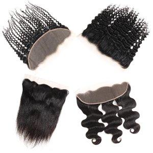 Brezilyalı Bakire Saç Düz Frontal Remy İnsan Saç Uzantıları Vücut dalga Üst Dantel 13X4 Kapaklar Aksesuarları Toplu Perulu Derin Dalga Saç