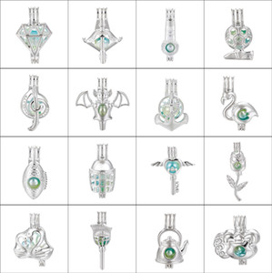 10pc Silver Flying Key Swan Flamingo Anchor Arrow Oyster Pearl Cage Bead Cage Essential Oil Diffuser Mohemian Pendant Jewelie Making