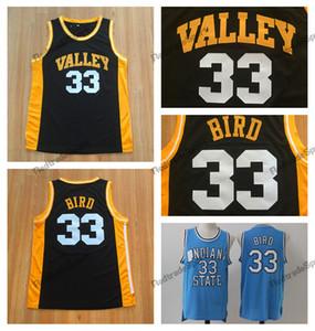 Mens pas cher Larry Bird maillot # 33 Spring Valley High School chandails de basket-ball Vintage État de l'Indiana Sycamores Larry Bird chemises cousues