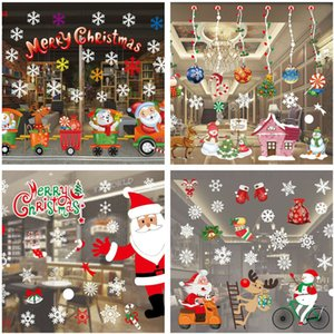 Christmas Decoration Window Glass Stickers Merry Christmas Santa Claus Snow PVC Removable Wall Sticker for Xmas Home Decals