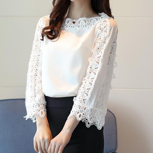 Lace Floral Blouse Flare Sleeves Office White Tops Spring Summer Women Elegant Chiffon Blouse Shirt Tops WS6564A