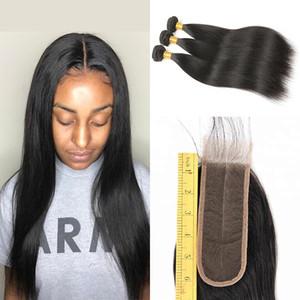 Paquetes de cabello humano brasileño 3 con 2x6 parte media de cierre de encaje barato Sedoso recto 2 * 6 pulgadas de aspecto natural cierre fino de despedida