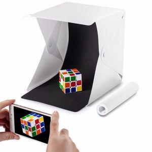 Mini Caixa de Iluminação Dobrável do Estúdio Caixa Macia Mini Cube Caixa de Iluminação Tenda Kit Com Luz LED Preto Fundo Branco Photo Studio Acessórios