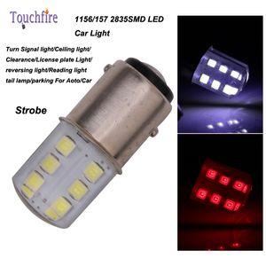 10pcs / lot P21W / 1156 / BA15S / S25 1157 2835SMD BAY15D Lâmpada Auto Wedge luzes LED 12v Largura Interior freio Signal Strobe Car Styling