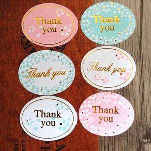 """Ronda de oro """"Gracias"""" sello adhesivo de color serie para la cocción del paquete de bricolaje etiqueta de la decoración de la etiqueta pegatinas menor 360pcs / bolsa"""