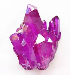 65g titanium revestido de quartzo fúcsia cluster de rocha natural aura anjo conjunto de cristal de pedra espécime reiki cura