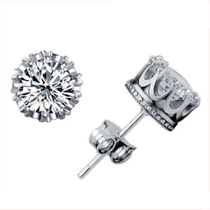 Banda Nueva Corona de Boda Stud Pendiente 2018 Nueva Plata de ley 925 CZ Simulated Diamonds Compromiso Hermosa Joyería Crystal Ear Ring