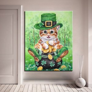 DIY Painting By Numbers Cat Wear Hat Modern Home Wall Art Picture Acrylic Paint On Canvas For Home Artwork