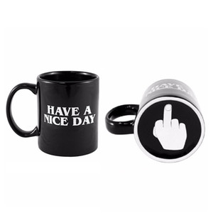 Creativo tiene un buen día taza de café 350ml divertido dedo medio tazas para café té leche novedad regalos de cumpleaños