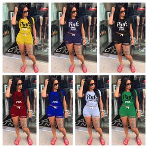 1 Kurzarm T-shirt + 1 Kurze Hosen Kleidung ROSA Stil frauen Trainingsanzüge Mädchen Sets Damen Casual Laufbekleidung Erwachsene Sportbekleidung Anzug