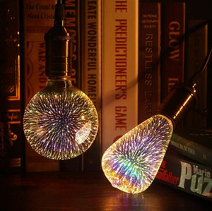 أدى ضوء لمبة 3D الديكور لمبة E27 6W 110-220V أضواء عطلة ST64 G95 G80 G125 A60 الجدة ChristmasLamp Lamparas