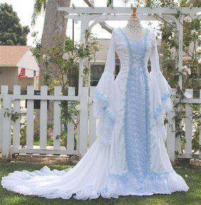 Нарния стиль Виктория бархат и кружева фантазия средневековая Фея свадебное платье пользовательские 2018 светло-синий шнуровке колокол с длинным рукавом свадебные платья