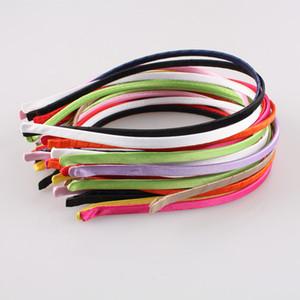 2018 100 pçs / lote 5 MM fita de cetim colorido coverd metal duro hairbands meninas boutique headbands mulheres diy acessórios para o cabelo várias cores