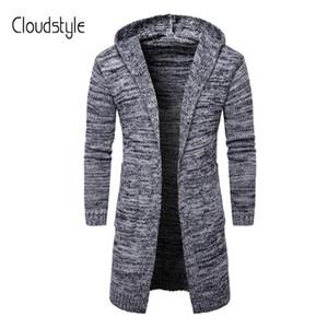 Cloudstyle 2018 Новый Осень Зима Мужские свитера средней длины кардиган Slim Fit случайные свитер