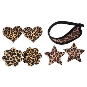 3 paires de tétines jetables et léopard bowknot c-string invisible