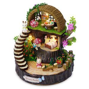 Casa de muñecas en miniatura Modelo de Kits de construcción de juguetes Casa de muñecas DIY Fantasy Forest Rotar el movimiento de la música para el presente