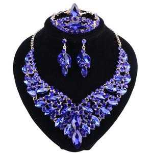 Kadınlar Düğün Lüks Gelin Takı Setleri için Mavi Kristal Rhinestone Altın Renk Kolye Küpe Bileklik Yüzük Seti
