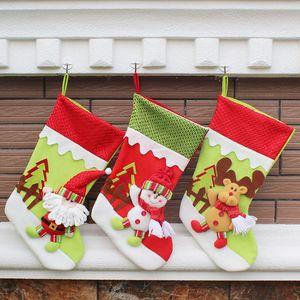 Regalos bolsa de decoración de regalo de Navidad Navidad que almacena calcetines de dibujos animados de Santa Claus fiesta de Navidad colgante Elk muñeco de nieve Adornos WX9-742