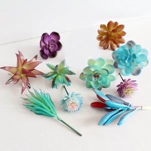 Nouvelle fleur Direction 10pcs / Lot Plantes Succulentes artificielle mixte plastique Arrangement Garden Blue Series Centerpiece unpotted
