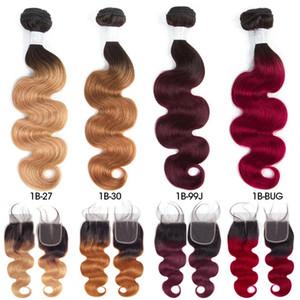 Pre-farbige Raw Indian Hair 3 Bundles mit Closure 1b / 27 Ombre T1B / 99J-Körper-Wellen-Menschenhaar Weaves Bundles mit Closure T1B / 30 T1B / BUG