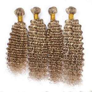 # 8 / 613 피아노 컬러 버진 헤어 익스텐션 딥 웨이브 4pcs 브라운 하이라이트 금발 피아노 컬러와 혼합 Indian Human Hair Weave Bundles