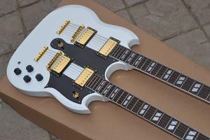 Custom Shop Double Neck, AOEMine White Electric Guitar By Spring, Spedizione gratuita