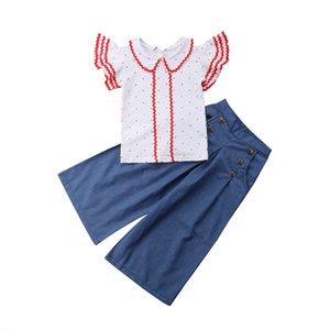 Toddler Girl Clothes 2018 Marque New Vêtements enfants Vêtements bébé filles ensembles de manches courtes Dot T-shirt Tops Bleu Large Leg Flare Pants