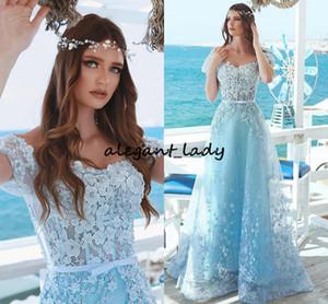 Light Sky Blue Lace Beaded Prom Dresses 2018 fuera del hombro Full Pearls 3D Floral Cap Sleeve Dubai árabe Ocasión Evening Gown