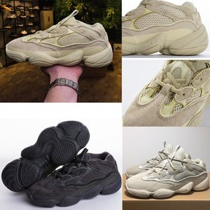 Wholesale running shoes kanye desert rat 500 Super Moon Yellow womens trainers men Utility Black Blush outdoor women sneakers sports shoes