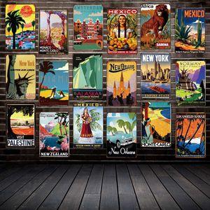 [Mike86] ANTIQUE TRAVEL Tin Signs 유명 국가 도시 빈티지 벽판 예술 회화 포스터 FG-216