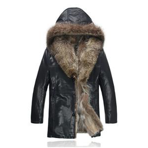 Para hombre del abrigo de pieles de cuero de las chaquetas con capucha natural de la piel del mapache de piel de oveja Abrigo nieve Outwear rompevientos impermeable de un tamaño más grande 5XL alta calidad