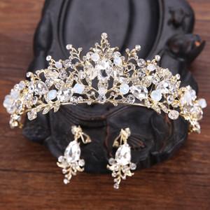Princess Crown Brautkleid mit Krone Schmuck Brautblumen-Kopfschmuck-Perlen-Korn mit Ohrringe Mini Mädchen-Kronen-BrautTiara