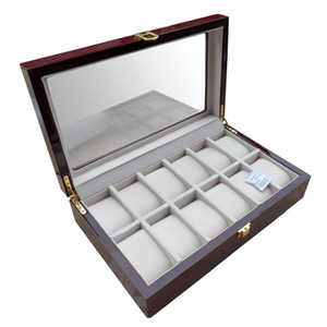 Luxury 12 Slots Wood Glossy Lacquer Watch Box Jewelry Collection Display Drop Shipping Supply, Box Watches Collect Business Home Gift Boxes