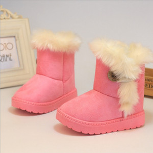Los nuevos zapatos de nieve botas de invierno gruesa de algodón acolchado cálido-resbalón resistente hebilla de botas de ante de la felpa de chicas Botas