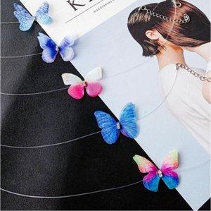 3D Crystal Butterfly Tattoo Gargantillas Collar Transparente Línea de Pesca Collar de Cuello Moda Beach Wedding Butterfly Collares MOQ 60 unids