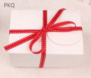 Vintage Retro White Kraft Paper Box 20pcs / lot Brown fai da te regalo di favore di nozze piccola torta singola confezione di imballaggio 15x10x8.5cm