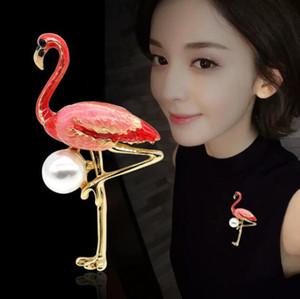 Bijoux fantaisie Couleur chaude gouttes Flamingo Pearl Brooch Accessoires de mode
