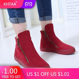 KHTAA Botas de Tobillo de Invierno Femenino Cremallera Flock Plataforma Bota de Nieve Señoras Zapatillas de deporte Felices Zapatos Planos Casuales Mujer Calzado