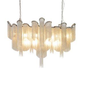 led e14 halter Retro Aluminium Kette Kronleuchter LED Lampe Silber Farbe Pendelleuchte für foyer wohnzimmer hotel beleuchtung