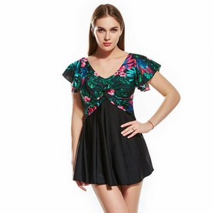 New Women Swimear High Quality Sleeve Skirt Sexy Conservative Spa Slim Squeezing Chest Flower Printed Plus Size Swimming Wear