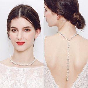 Neue 2018 Hintergrund Halskette Anhänger Frauen Silber Link Drop Back Kette Schmuck Perle sexy Hochzeit Braut Zubehör JCK004