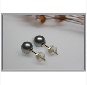 stunning AAA10 MM natural south sea gray pearl earrings pure 18K white gold stud