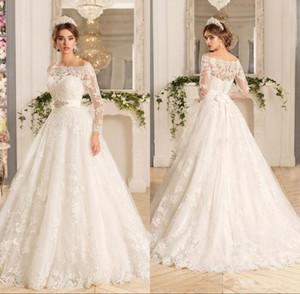 Vestido de novia de manga larga de encaje vintage de Novia Off the hombro Vestidos de novia con cuentas de una línea vestidos de novia de tren de corte personalizado