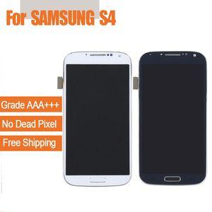 1 ADET LCD Ekran Dokunmatik Yedek Ekran Samsung GALAXY S4 i9500 i9505 Digitizer Çerçeve Meclisi ile Beyaz / Koyu Mavi