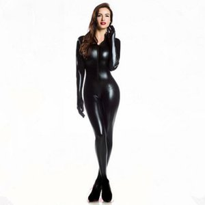 Plus XXL Size Wome's 2way zipper Catsuit de cuero sintético Clubwear DS Latex Cat Mujeres con guantes Fancy Costume Jumpsuit