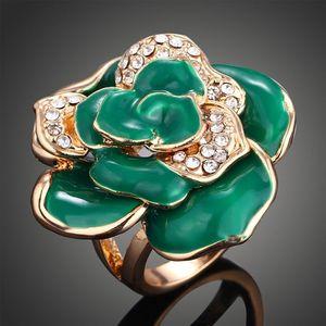 Nuevas mujeres de la llegada joyería de moda cristales gotas de aceite de diamante anillo de aleación de flores Amor día de San Valentín regalo del festival de Navidad