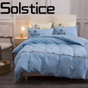 Solstice Home Textile Fashion letter teñido liso sábanas de algodón sábanas funda de edredón funda de almohada Twin / Full / Queen / King